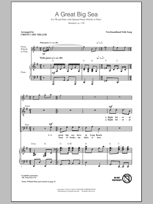 Download Cristi Cary Miller 'A Great Big Sea' Digital Sheet Music Notes & Chords and start playing in minutes
