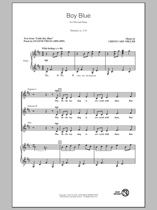 Cristi Cary Miller Boy Blue sheet music preview music notes and score for SSA including 12 page(s)