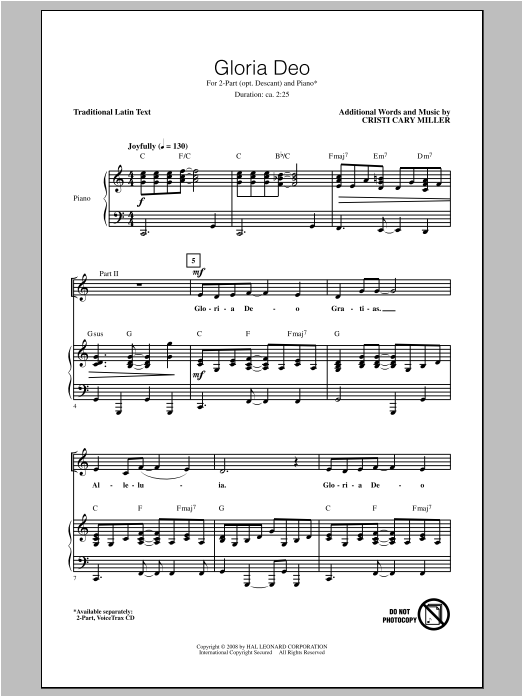 Download Cristi Cary Miller 'Gloria Deo' Digital Sheet Music Notes & Chords and start playing in minutes