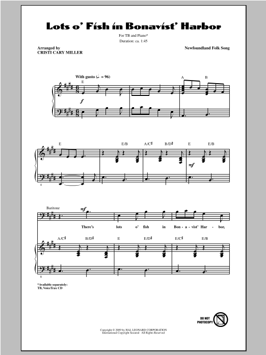 Download Traditional 'Lots O' Fish In Bonavist' Harbor (arr. Cristi Cary Miller)' Digital Sheet Music Notes & Chords and start playing in minutes