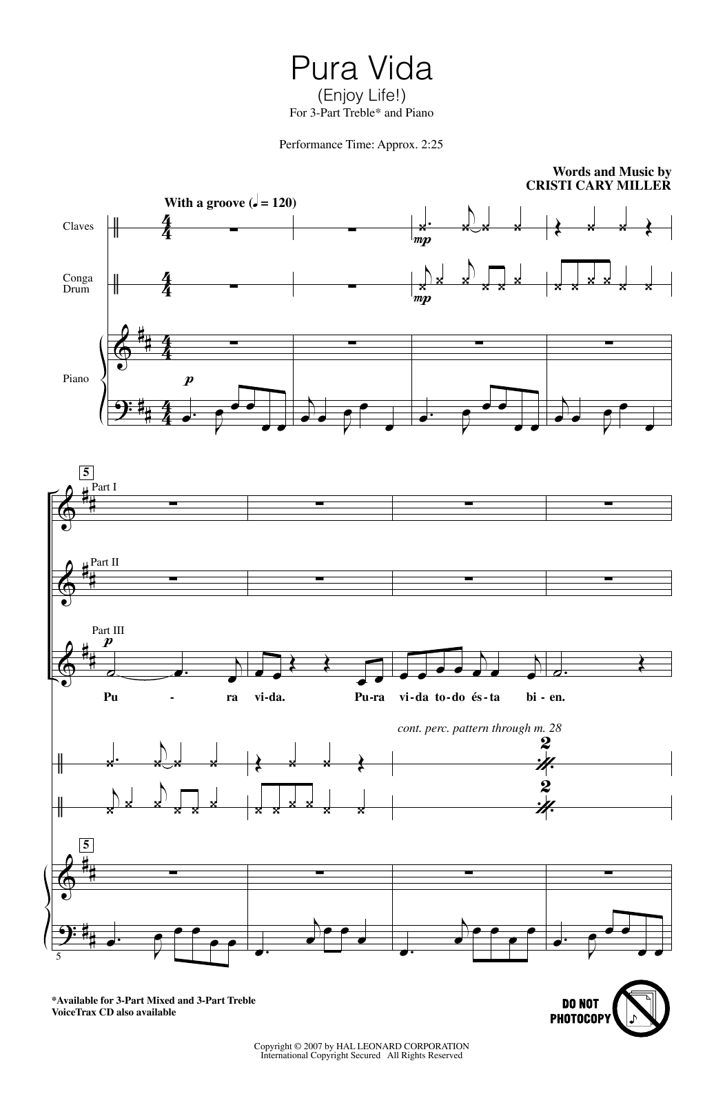 Download Cristi Cary Miller 'Pura Vida (Enjoy Life)' Digital Sheet Music Notes & Chords and start playing in minutes
