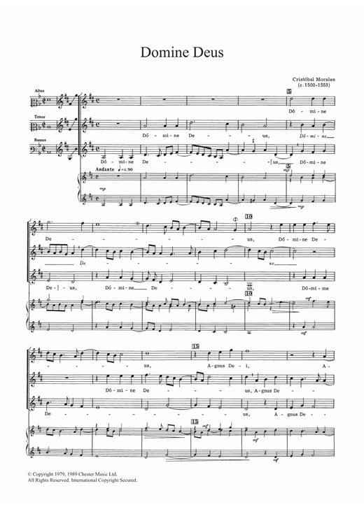 Download Cristobal Morales 'Domine Deus' Digital Sheet Music Notes & Chords and start playing in minutes