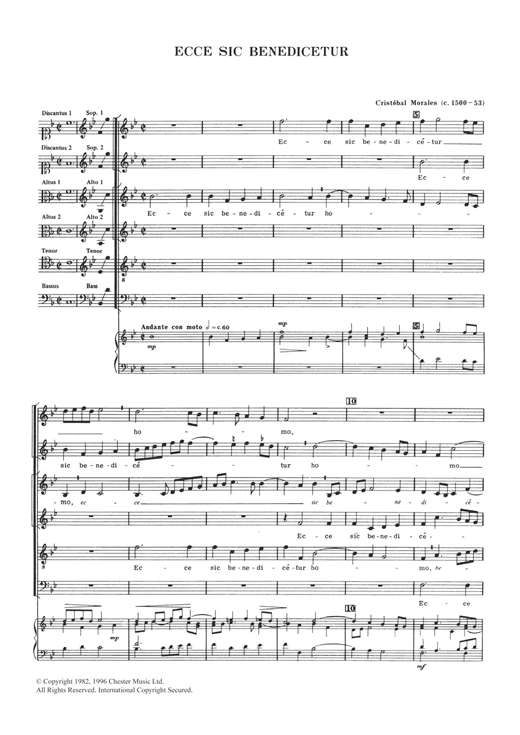 Download Cristobal Morales 'Ecce Sic Benedicetur' Digital Sheet Music Notes & Chords and start playing in minutes