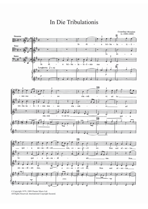 Download Cristobal Morales 'In Die Tribulationis' Digital Sheet Music Notes & Chords and start playing in minutes