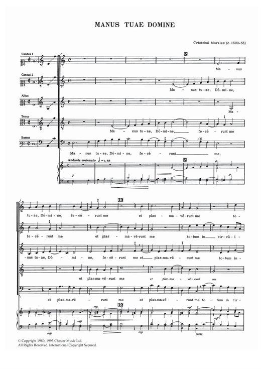 Download Cristobal Morales 'Manus Tuae Domine' Digital Sheet Music Notes & Chords and start playing in minutes