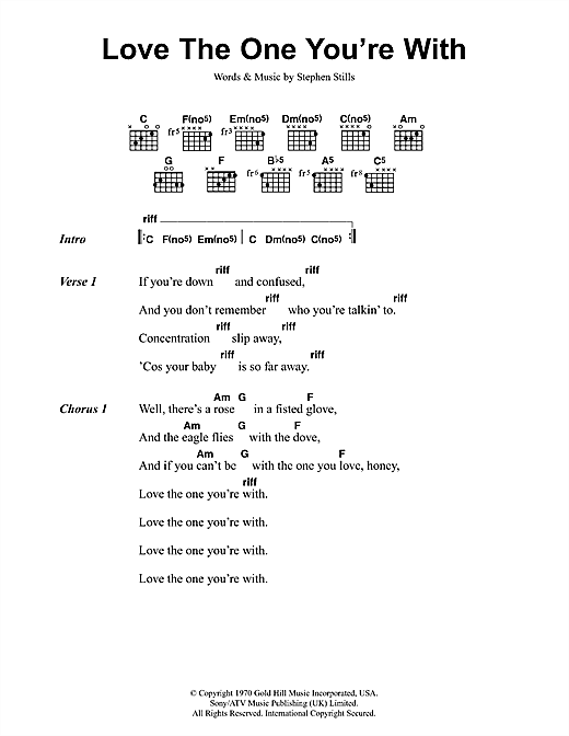 Crosby, Stills & Nash Love The One You're With sheet music preview music notes and score for Lyrics & Chords including 3 page(s)