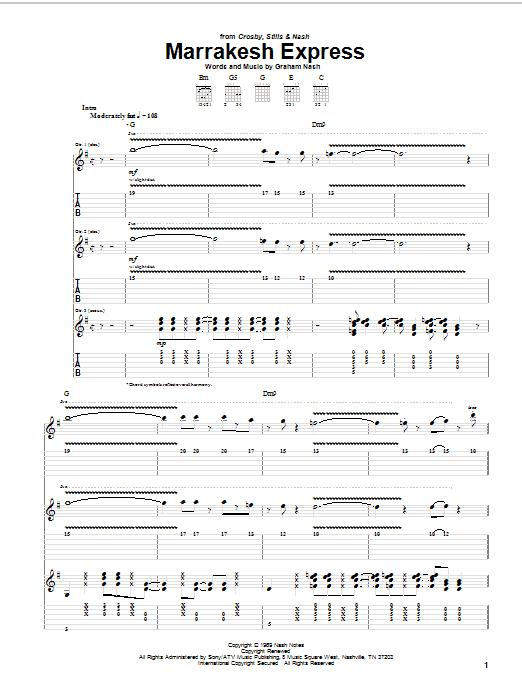 Crosby, Stills & Nash Marrakesh Express sheet music notes and chords