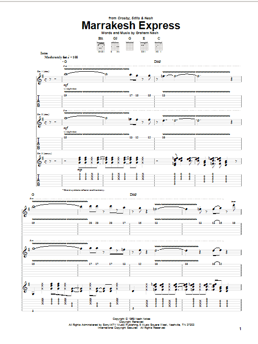 Crosby, Stills & Nash Marrakesh Express sheet music preview music notes and score for Guitar Tab including 11 page(s)