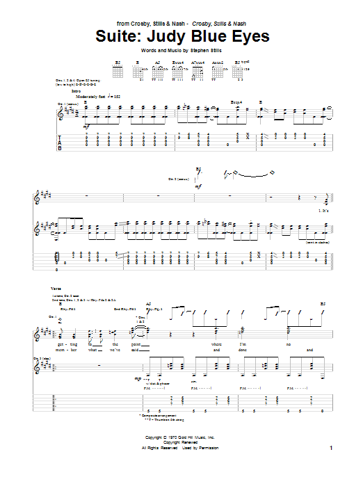 Crosby, Stills & Nash Suite: Judy Blue Eyes sheet music preview music notes and score for Guitar Tab including 15 page(s)
