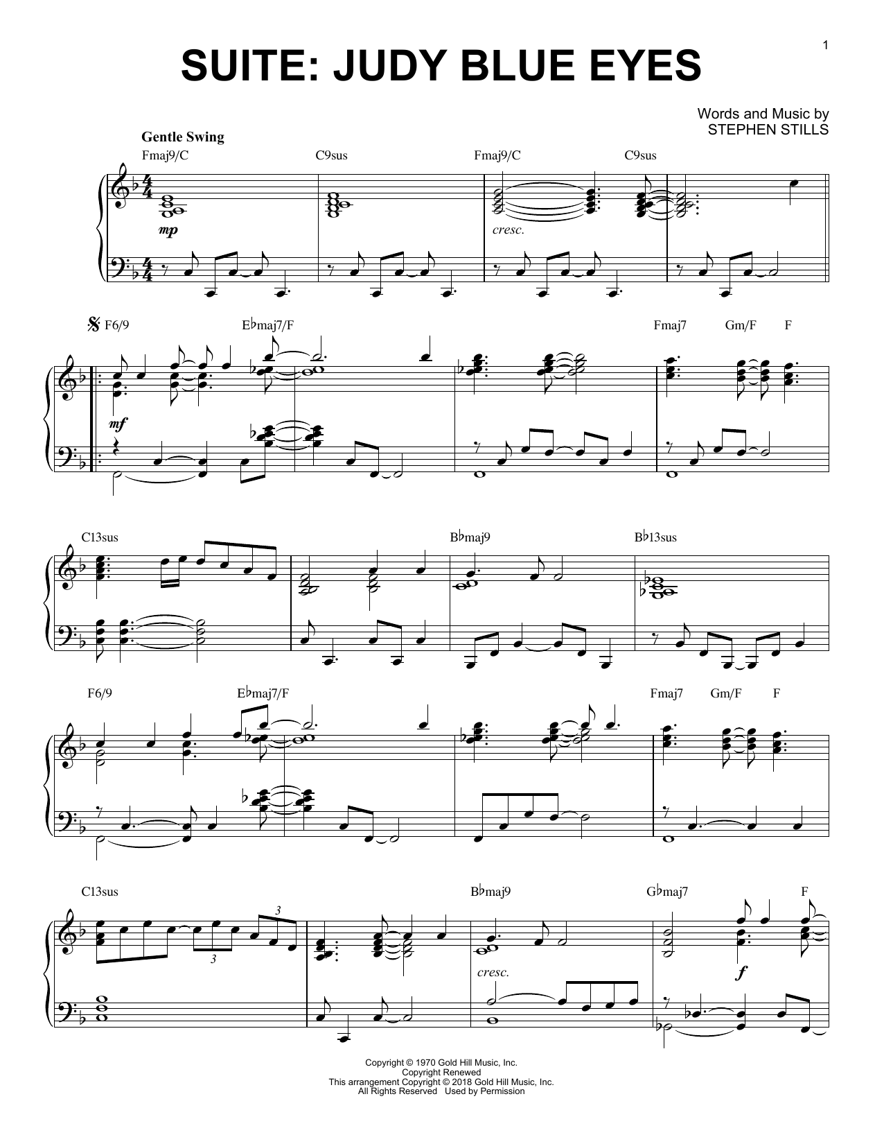 Crosby, Stills & Nash Suite: Judy Blue Eyes sheet music notes and chords