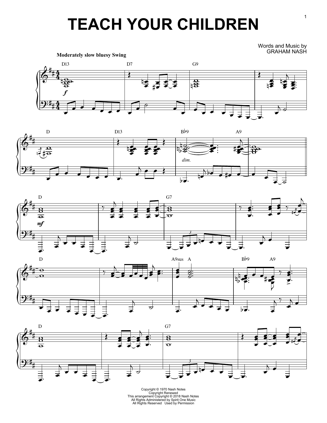 Download Crosby, Stills, Nash & Young 'Teach Your Children' Digital Sheet Music Notes & Chords and start playing in minutes