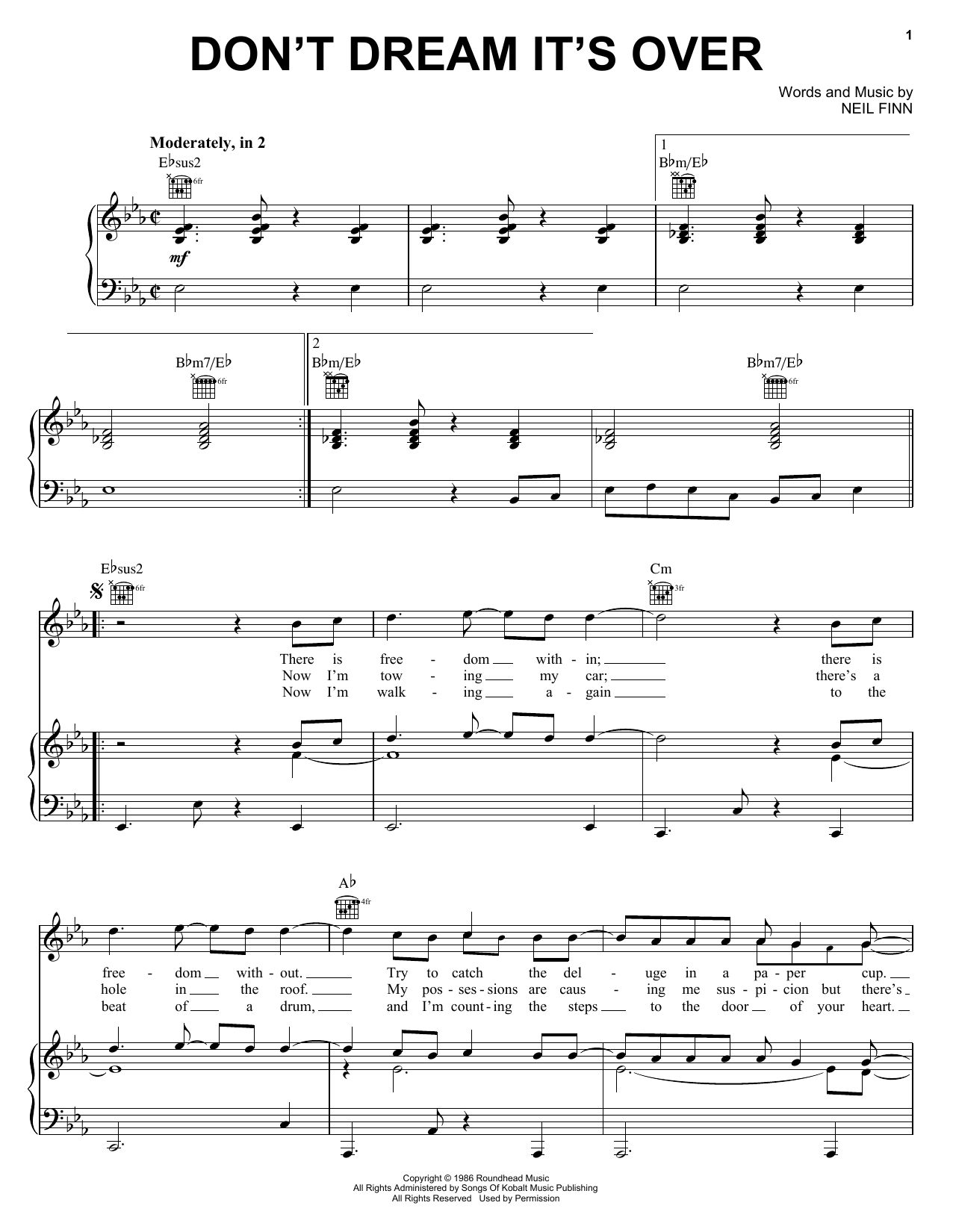 Download Crowded House 'Don't Dream It's Over' Digital Sheet Music Notes & Chords and start playing in minutes