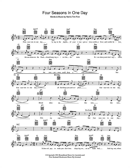 Crowded House Four Seasons In One Day sheet music preview music notes and score for Melody Line, Lyrics & Chords including 2 page(s)
