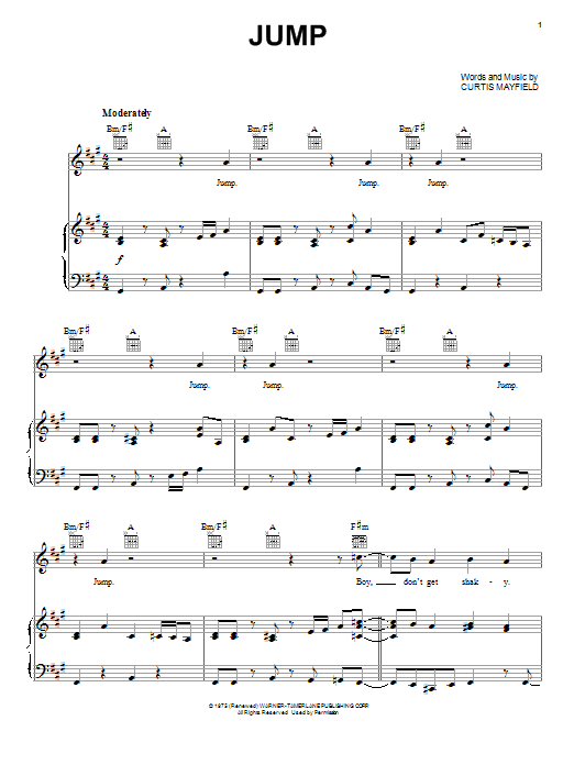 Curtis Mayfield Jump sheet music preview music notes and score for Piano, Vocal & Guitar (Right-Hand Melody) including 7 page(s)