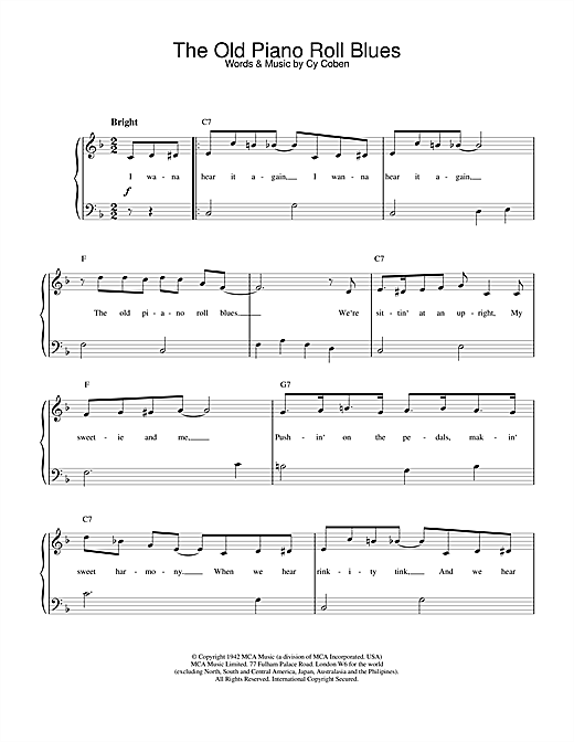 Download Cy Coben 'The Old Piano Roll Blues' Digital Sheet Music Notes & Chords and start playing in minutes