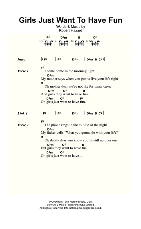 Cyndi Lauper Girls Just Want To Have Fun sheet music notes and chords