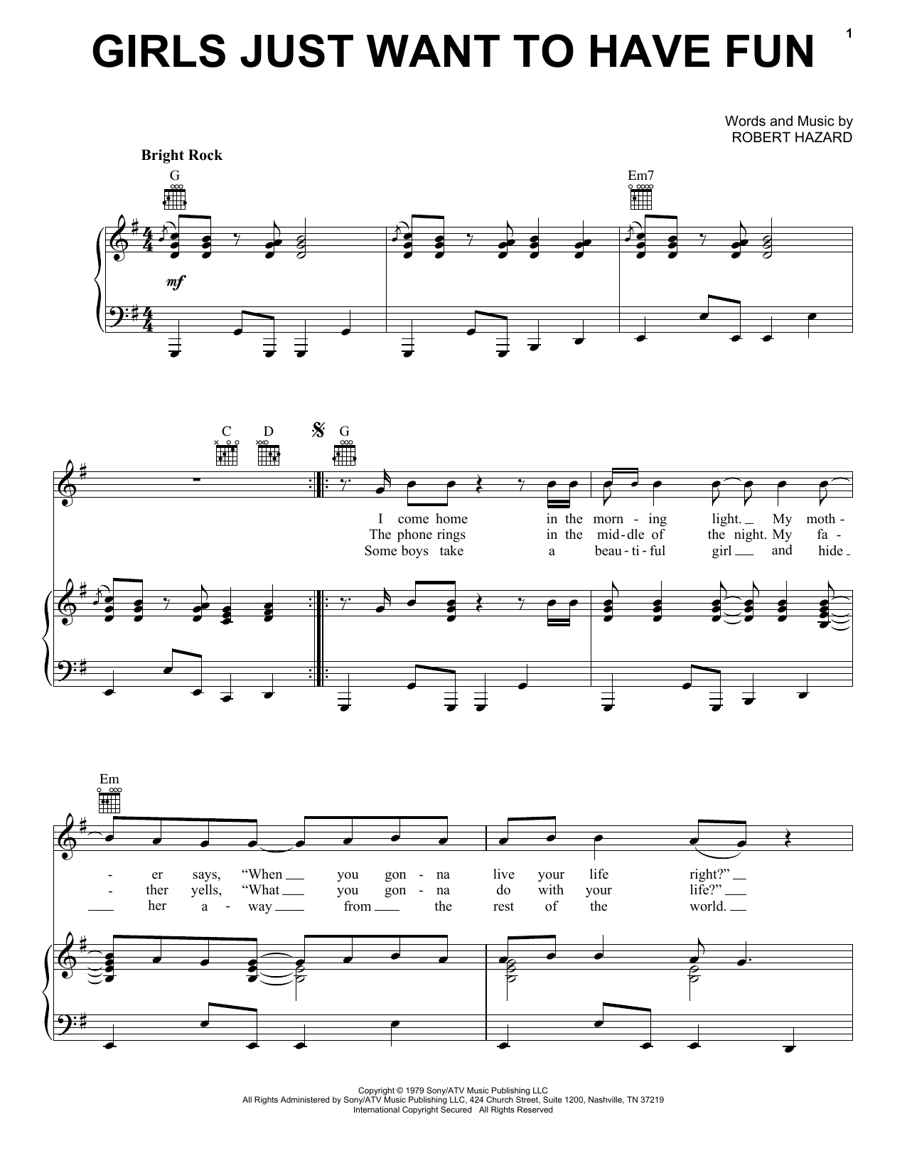Cyndi Lauper Girls Just Want To Have Fun sheet music preview music notes and score for Piano, Vocal & Guitar (Right-Hand Melody) including 4 page(s)