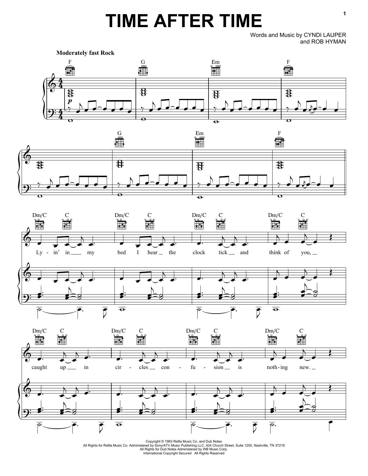 Download Cyndi Lauper 'Time After Time' Digital Sheet Music Notes & Chords and start playing in minutes