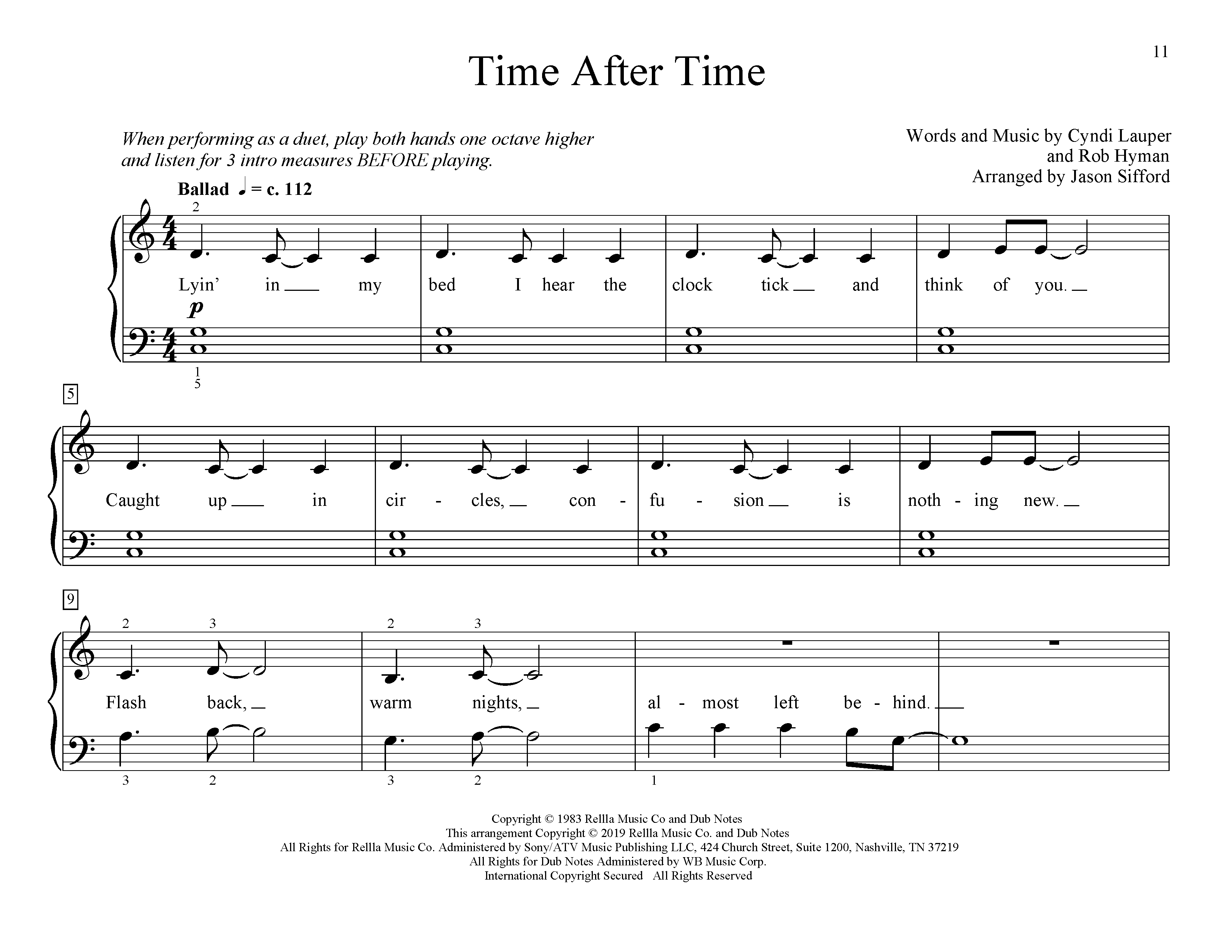 Cyndi Lauper Time After Time (arr. Jason Sifford) sheet music preview music notes and score for Educational Piano including 4 page(s)