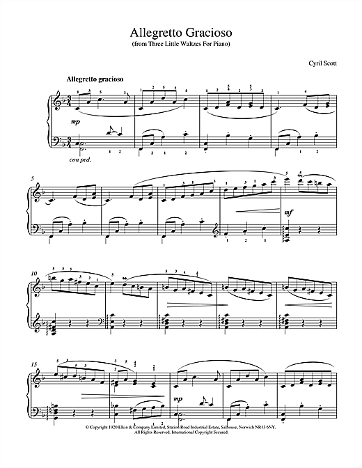 Cyril Scott Allegretto Gracioso sheet music notes and chords