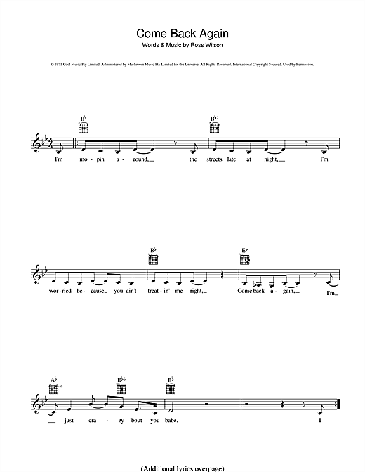 Daddy Cool Come Back Again sheet music preview music notes and score for Melody Line, Lyrics & Chords including 2 page(s)