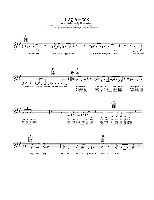 Daddy Cool Eagle Rock sheet music preview music notes and score for Melody Line, Lyrics & Chords including 2 page(s)