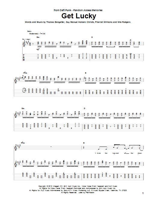Download Daft Punk 'Get Lucky (feat. Pharrell Williams)' Digital Sheet Music Notes & Chords and start playing in minutes