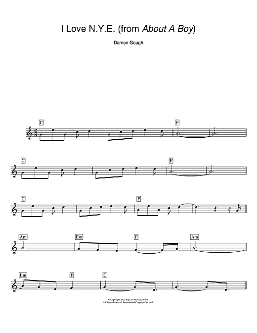 Download Damon Gough 'I Love N.Y.E. (from About A Boy)' Digital Sheet Music Notes & Chords and start playing in minutes