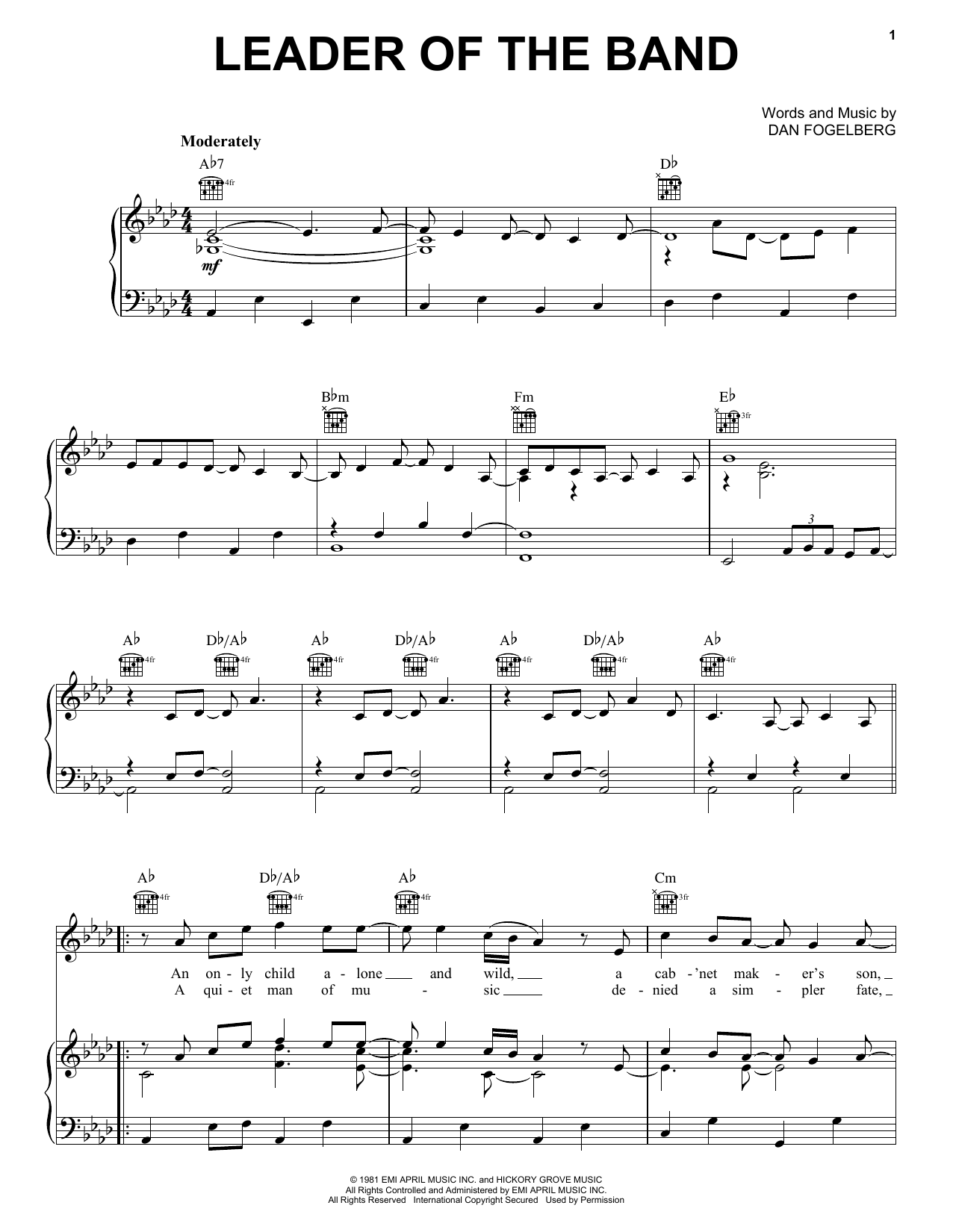 Dan Fogelberg Leader Of The Band sheet music preview music notes and score for Guitar Tab including 6 page(s)