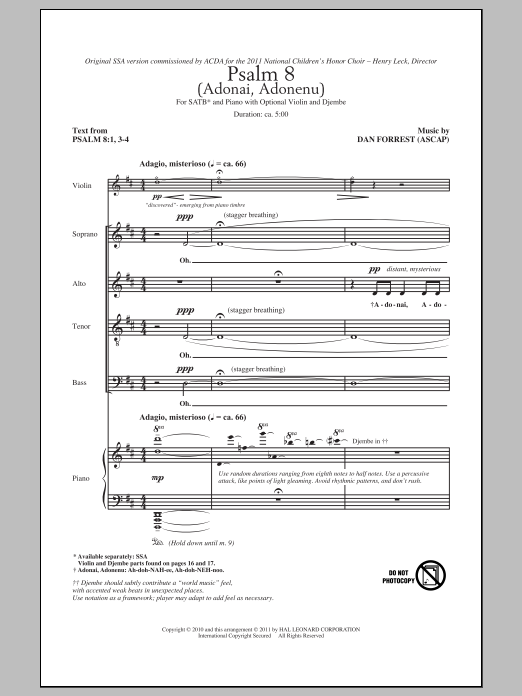 Download Dan Forrest 'Psalm 8 (Adonai, Adonenu)' Digital Sheet Music Notes & Chords and start playing in minutes