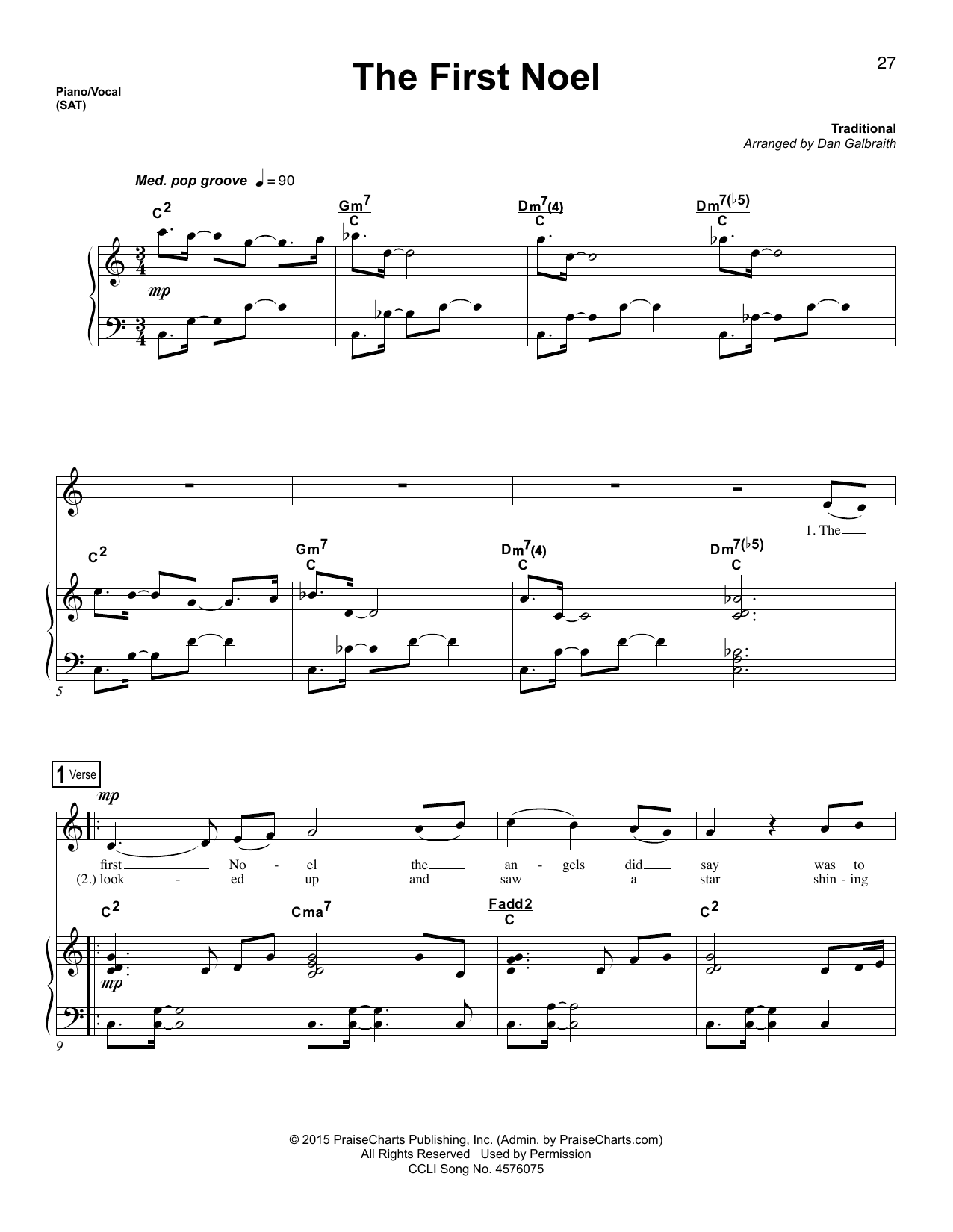Dan Galbraith The First Noel sheet music preview music notes and score for Lead Sheet / Fake Book including 6 page(s)