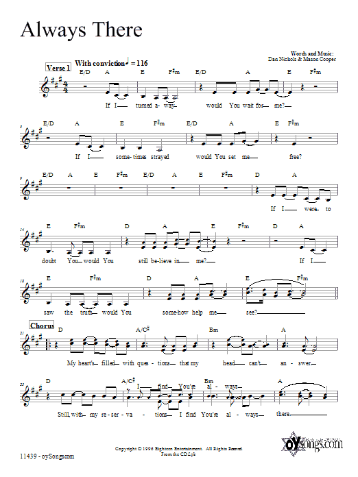 Dan Nichols Always There sheet music preview music notes and score for Melody Line, Lyrics & Chords including 4 page(s)