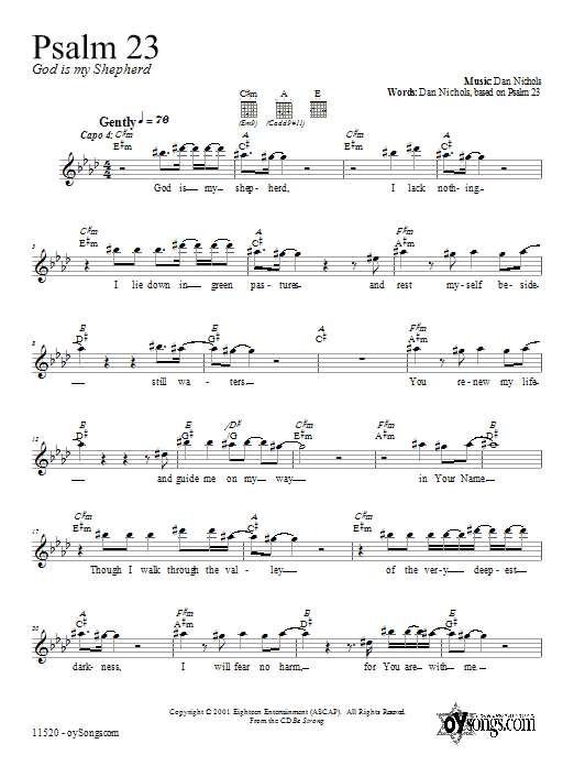 Dan Nichols Psalm 23 sheet music notes and chords