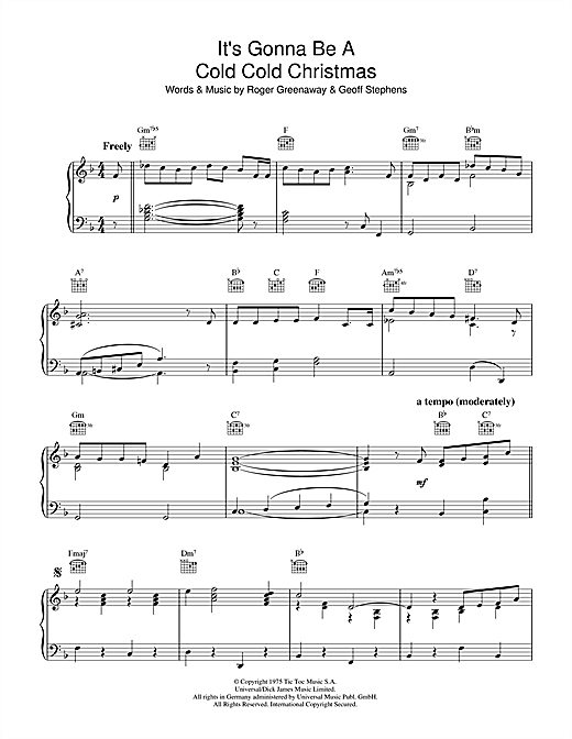 Download Dana 'It's Gonna Be A Cold Cold Christmas' Digital Sheet Music Notes & Chords and start playing in minutes