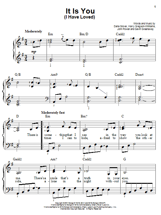 Dana Glover It Is You (I Have Loved) sheet music notes and chords