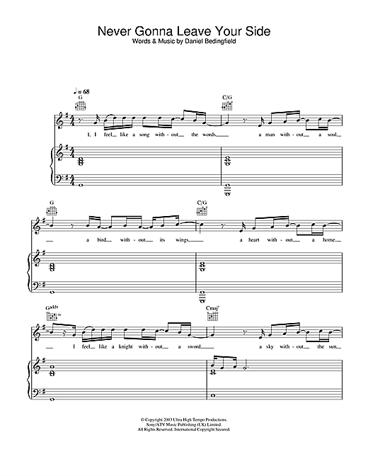 Daniel Bedingfield Never Gonna Leave Your Side sheet music notes and chords