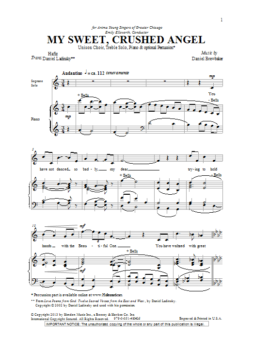 Download Daniel Brewbaker 'My Sweet, Crushed Angel' Digital Sheet Music Notes & Chords and start playing in minutes