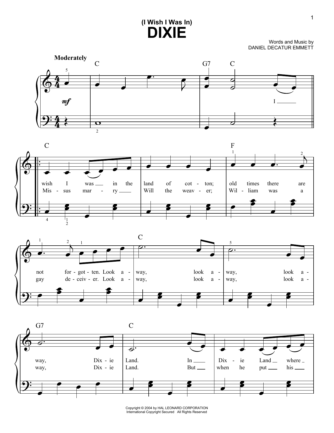 Daniel Decatur Emmett (I Wish I Was In) Dixie sheet music preview music notes and score for Easy Piano including 2 page(s)
