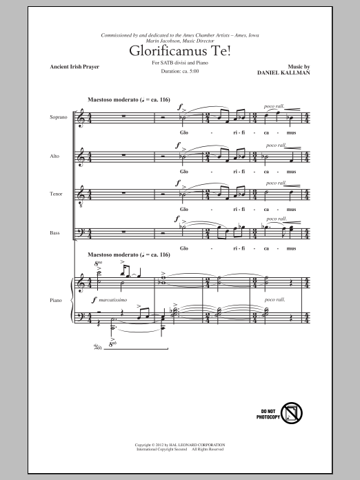 Daniel Kallman Glorificamus Te! sheet music preview music notes and score for SATB including 6 page(s)