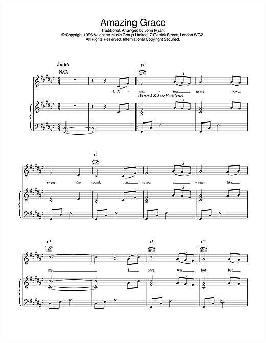 Daniel O'Donnell Amazing Grace sheet music notes and chords