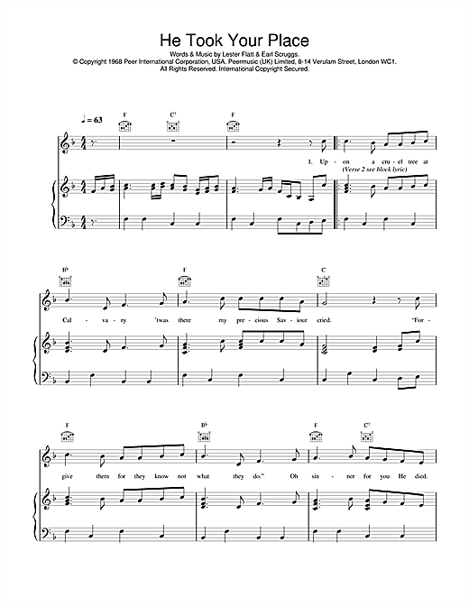Daniel O'Donnell He Took Your Place sheet music notes and chords