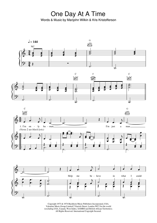 Daniel O'Donnell One Day At A Time sheet music notes and chords