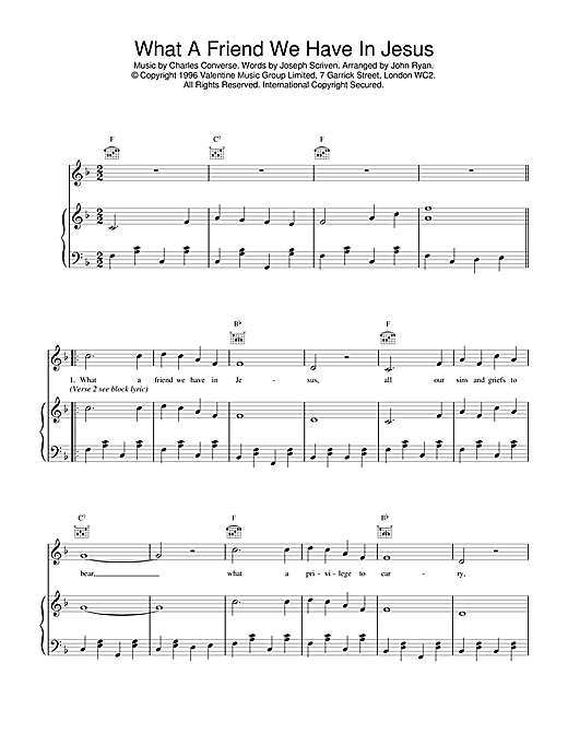 Daniel O'Donnell What A Friend We Have In Jesus sheet music notes and chords