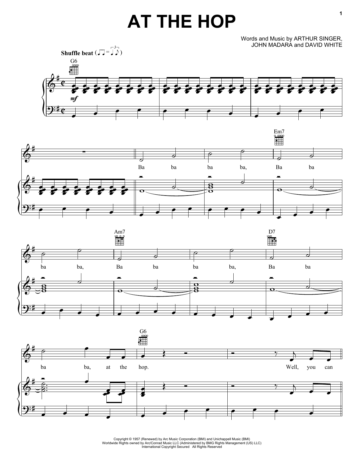 Danny & The Juniors At The Hop sheet music preview music notes and score for Lyrics & Chords including 3 page(s)