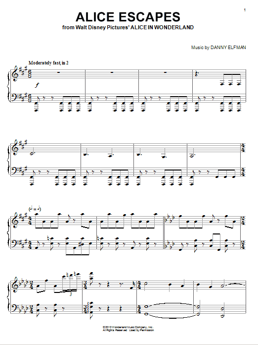 Download Danny Elfman 'Alice Escapes' Digital Sheet Music Notes & Chords and start playing in minutes