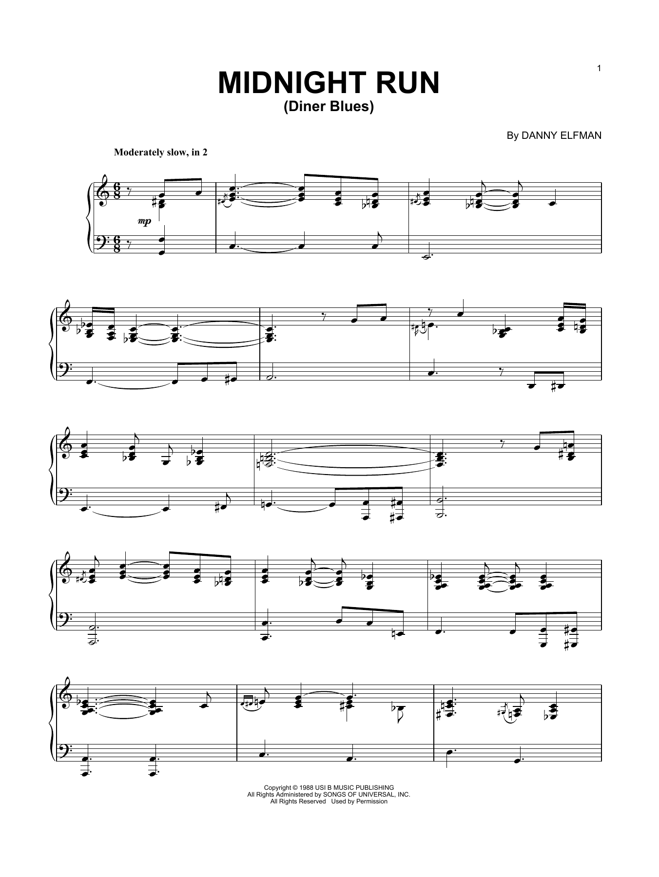 Download Danny Elfman 'Diner Blues' Digital Sheet Music Notes & Chords and start playing in minutes