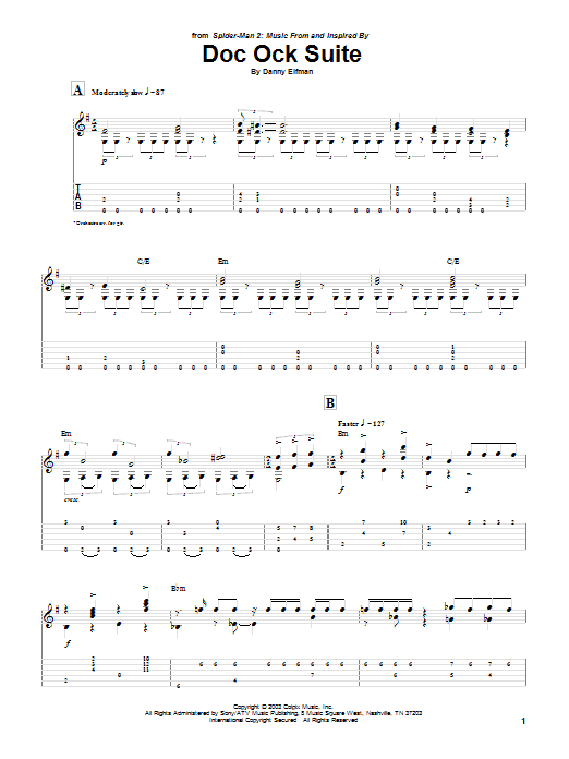 Danny Elfman Doc Ock Suite (from Spiderman 2) sheet music notes and chords