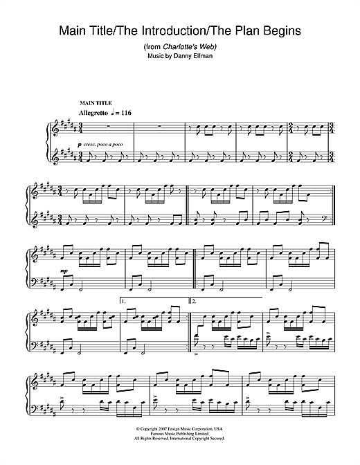Download Danny Elfman 'Main Title/The Introduction/The Plan Begins (from Charlotte's Web)' Digital Sheet Music Notes & Chords and start playing in minutes