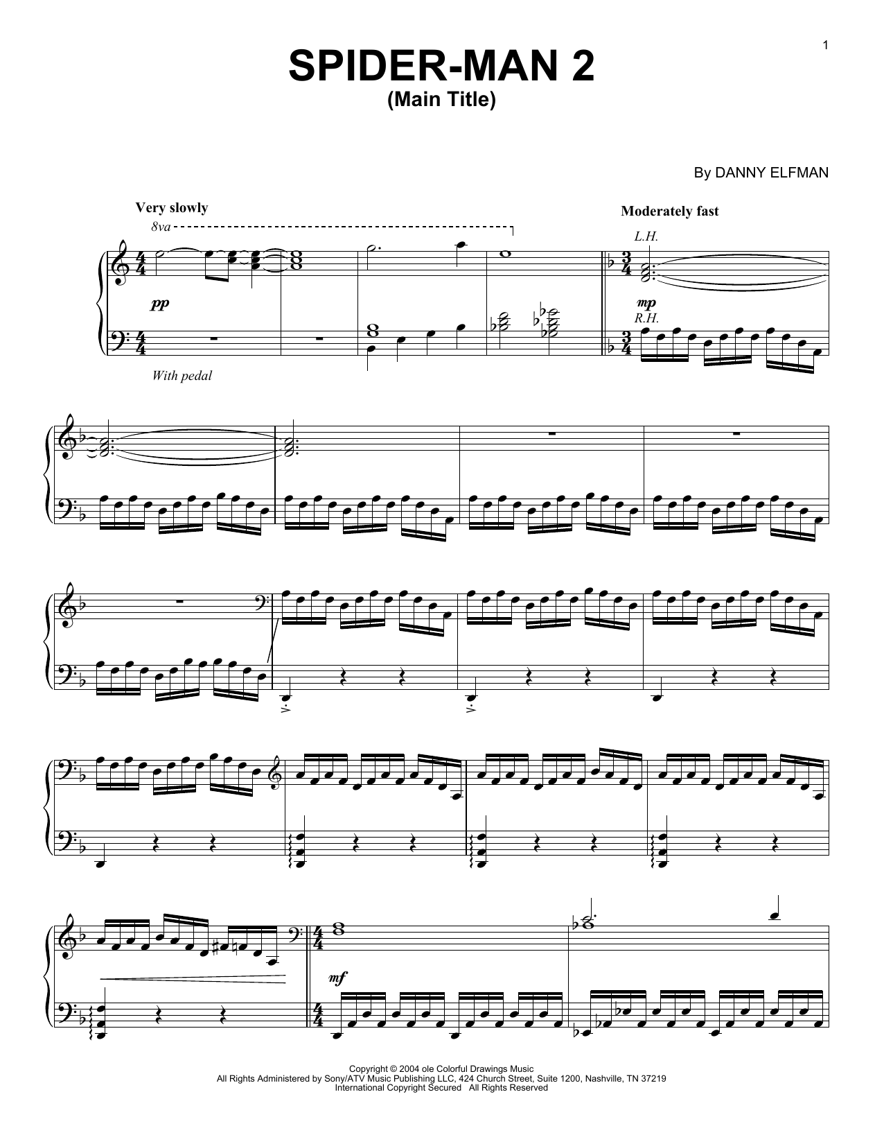 Danny Elfman Spider-Man 2 (Main Title) sheet music preview music notes and score for Piano including 5 page(s)