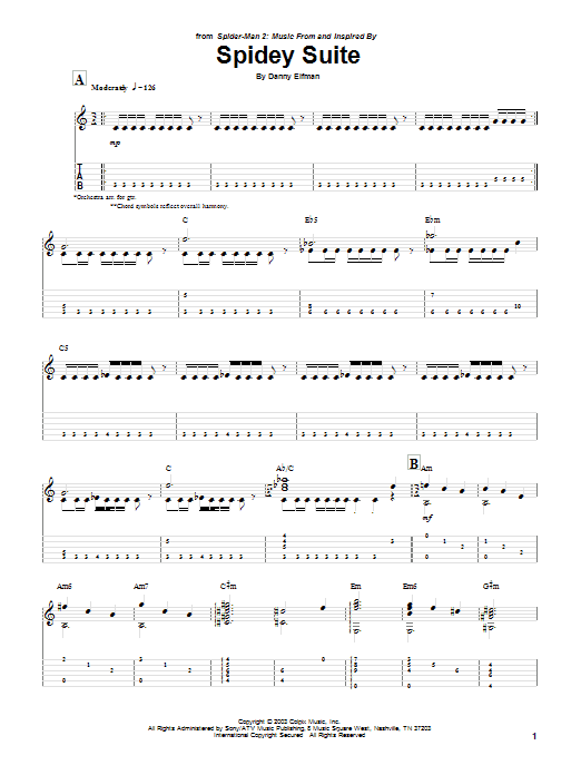 Danny Elfman Spidey Suite (from Spiderman 2) sheet music preview music notes and score for Guitar Tab including 5 page(s)